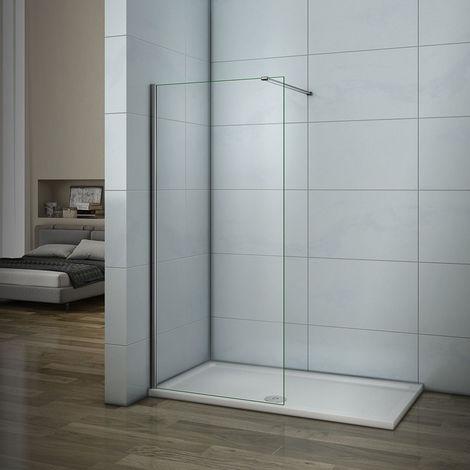 AICA paroi de douche latérale en verre anticalcaire avec barre de fixation 90cm