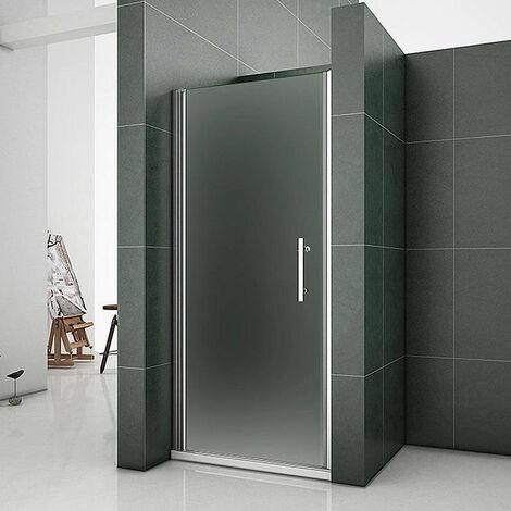 AICA porte de douche 70-100x185cm en verre sablé et anticalcaire installation en niche