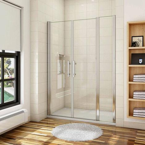 AICA porte de douche battante 75-120x187 ou 197cm porte battante avec 1 élément fixe en 6mm verre anticalcaire