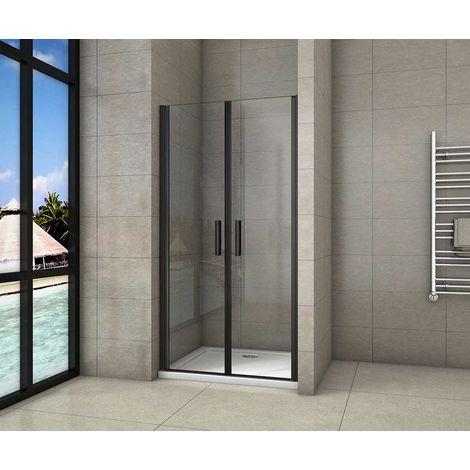 AICA porte de douche battante noir mat en 8mm verre anticalcaire l'hauteur 200cm