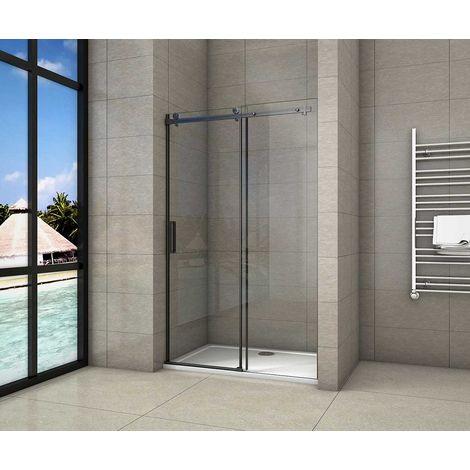 AICA porte de douche coulissante noir mat en 8mm verre anticalcaire l'hauteur 200cm