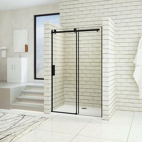 AICA porte de douche noire coulissante hauteur 200cm porte de douche coulissante noir en 8mm verre anticalcaire