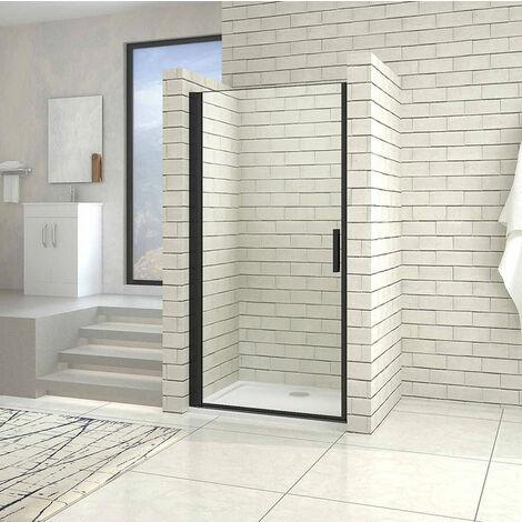 AICA porte de douche noire  hauteur 200cm porte de douche pivotante noir en 8mm verre anticalcaire