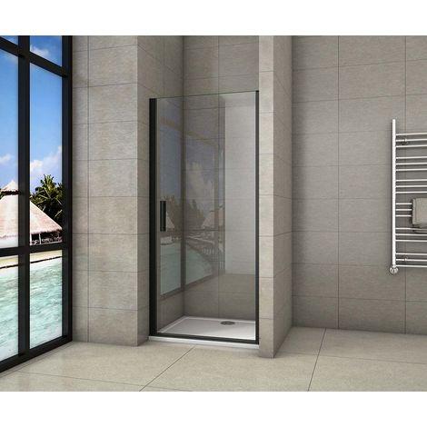 AICA porte de douche pivotante noir mat en 8mm verre anticalcaire l'hauteur 200cm