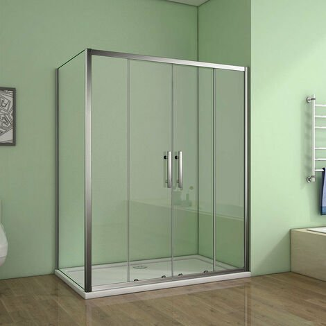 AICA Sliding Door 700-900mm side panel Shower Enclosures Chrome with shower tray