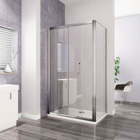 AICA Sliding Shower Enclosure 8mm anti-explosion-proof film tempered glass with shower tray