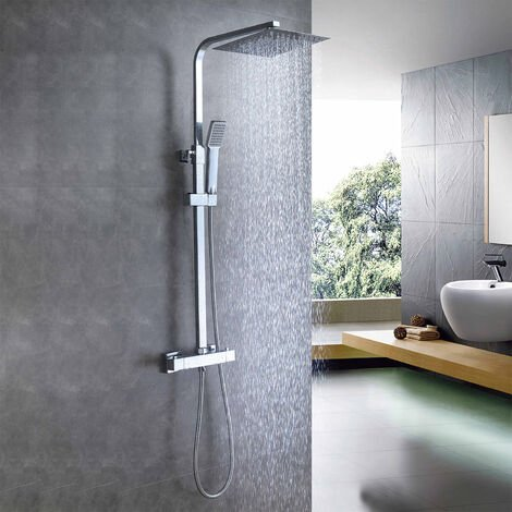 """main image of """"AICA Thermostatic Exposed Shower Mixer Bathroom Twin Head Large Square Bar Set Chrome"""""""