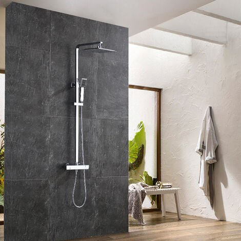 """main image of """"AICA Thermostatic Shower Mixer Square Chrome Bathroom Exposed Twin Head Valve Set"""""""