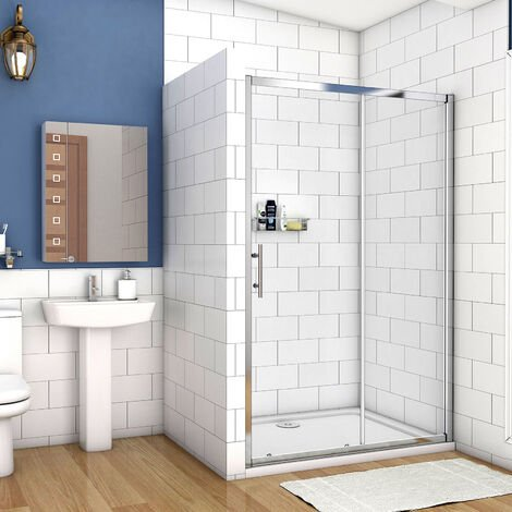 Aica Walk In Sliding Shower Enclosure Door 5mm Safety Glass 1000-1700,Tray Optional