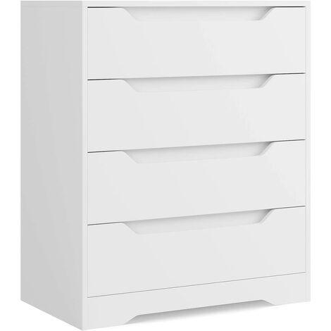 AICOK Commode de 4 Tiroirs Meuble de Rangement avec Tiroirs pour Salon Entrée et Chambre de Coucher Chiffonnier Blanche 69 x 39 x 82 cm