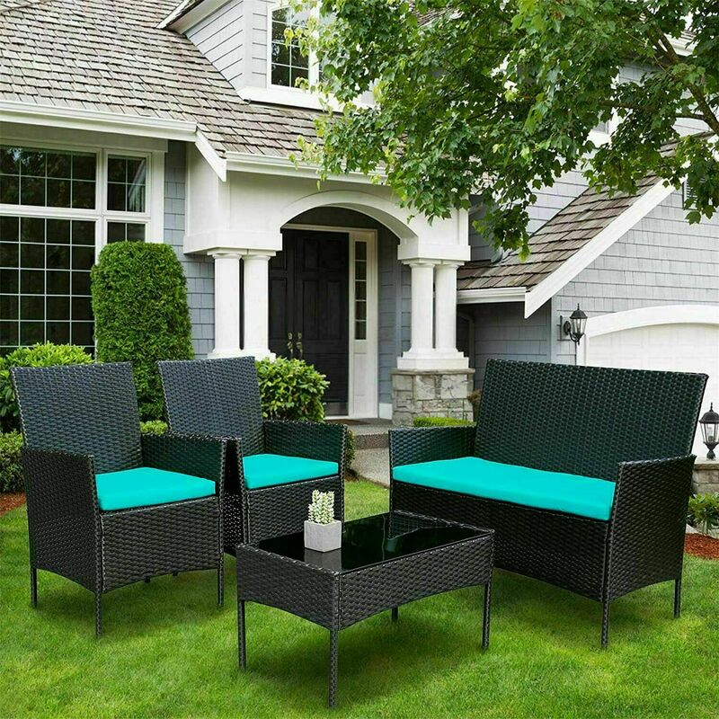 Salon de Jardin Ensemble de meubles de patio en osier, ensemble de 4 canapés en osier d'extérieur chaise en rotin - Aicok