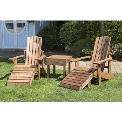 Aidandack Patio Set, wooden garden relax chairs with side table, fully assembled