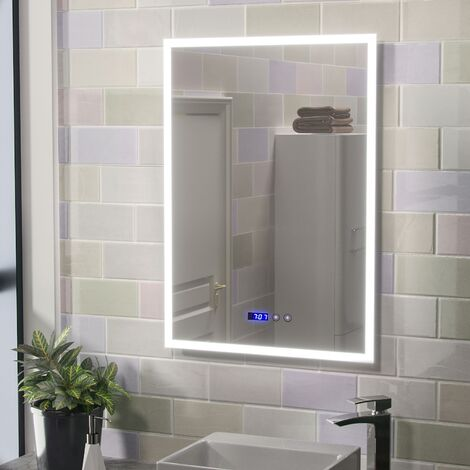 Aiden Large Illuminated LED Bathroom Mirror with Digital Clock and Anti-Fog