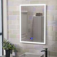 Aiden Large Illuminated LED Bathroom Mirror with Digital Clock and Anti-Fog