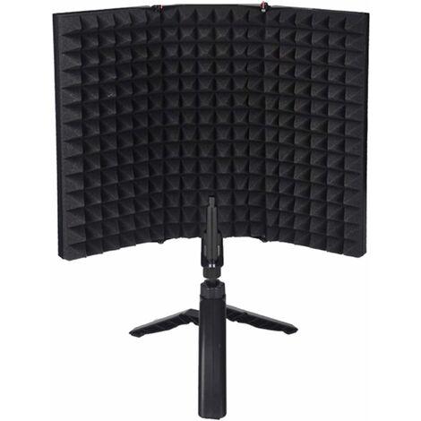 """main image of """"AIDUCHO Bouclier Sonore Professionnel, Pliable Microphone Acoustique Bouclier Mousse d'insonorisation Cube de Filtre d'isolement pour l'enregistrement Sonore Studio, Podcasts, Chant, Radiodiffusion"""""""
