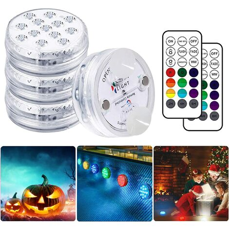 AIDUCHO Lampe Piscine LED Lumières LED Submersibles, Temps d'éclairage 30-50 heures IP68 étanche 16 RGB Couleurs Changement Lampes Décoratives pour Aquariums Baignoire,Vase,Piscines,étangs (4 Pcs) [Classe énergétique A+]