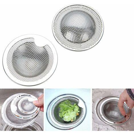 AIDUCHO Lot de 2 grilles d'évier en acier inoxydable - Idéal pour évier de cuisine, évier, douche, baignoire - Disponible en trois tailles (grand)(L)