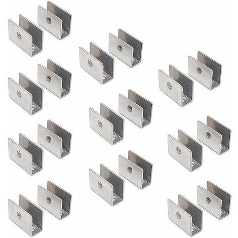 AIDUCHO Lot de 20 supports pour étagère en verre – 201 en acier inoxydable avec pince de serrage ronde réglable de 8 à 12 mm d'épaisseur, panneau de taille 26,5 x 36,5 x 16,5 mm