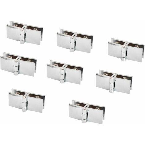 AIDUCHO Lot de 8 charnières de porte en verre, 5 mm à 8 mm, pince rectangulaire réglable pour porte d'armoire, porte en verre à 180 degrés