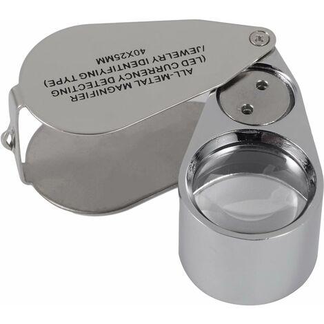 AIDUCHO Loupe de loupe de bijoutiers éclairée en métal 40X avec conception pliante, loupe de poche avec lumière LED (détection de monnaie par LED / type d'identification des bijoutiers)