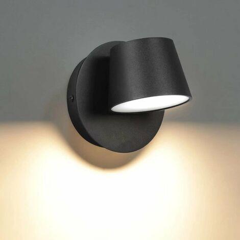 AIDUCHO Moderne Applique Murale LED Lampe de Lecture Murale 350° Pivotant Style Nordique Spot Mural LED Lampe Murale Interieur pour Chambre à Coucher Salon Escalier Couloir, Noir 3000K(Lumière chaude)