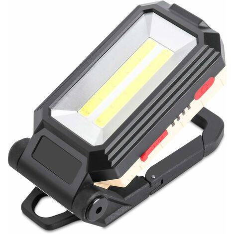 AIDUCHO Projecteur de chantier LED rechargeable avec base magnétique et crochet de suspension, 4 modes de luminosité, lampe d'inspection réglable à 180 ° pour réparation de camping et de secours