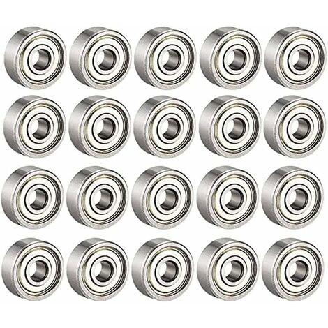 AIDUCHO Roulements à billes 608 ZZ, roulements à billes miniatures à gorge profonde pour 608zz métal (8 mm x 22 mm x 7 mm)