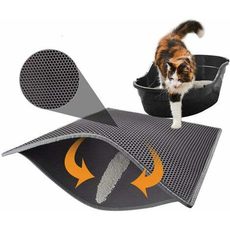 AIDUCHO Tapis de litière pour chat avec double couche étanche Motif nid d'abeille Noir