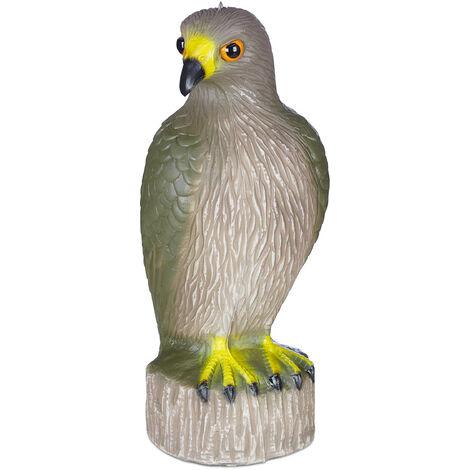 Aigle épouvantail, assis, poser & suspendre, statue décorative, pour le jardin, balcon, terrasse, marron