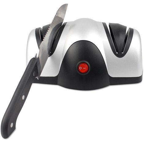 Aiguiseur à Deux Niveaux, Aiguiseur Electrique de Couteau, Noir/Argent, Matériau: Plastique ABS