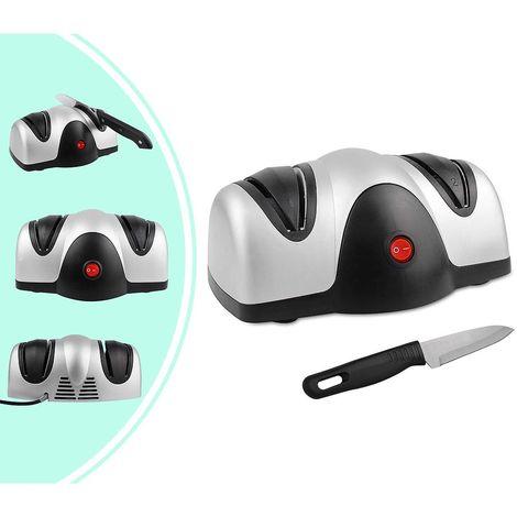 Aiguiseur Electrique de Couteau, Aiguiseur à Deux Niveaux, Noir/Argent, Matériau: Plastique ABS