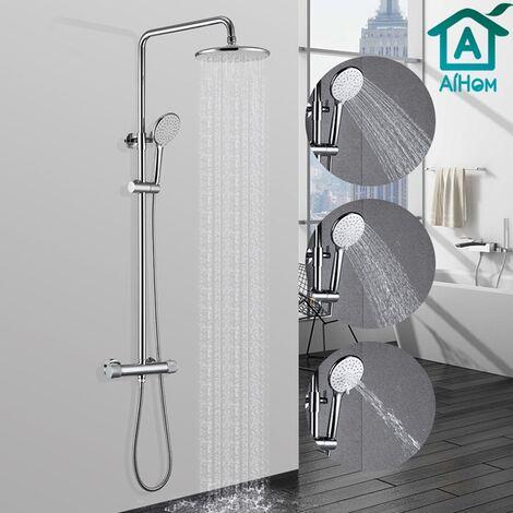 AiHom Columna de ducha de acero inoxidable a temperatura constante a 40 ℃, con ducha de mano con tres funciones.