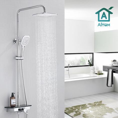 AiHom Columna de ducha termostática con bandeja de almacenamiento Sistema de ducha Ducha de mano Juego de ducha de 3 chorros en latón cromado Ajustable en altura