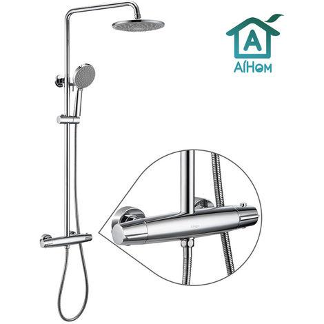 AiHom Set de ducha de columna de ducha termostática con 5 funciones rociadores, ducha de mano, baño ajustable en altura