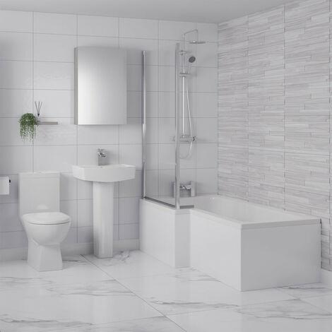 Ailsa Left Hand L Shaped Shower Bath Suite