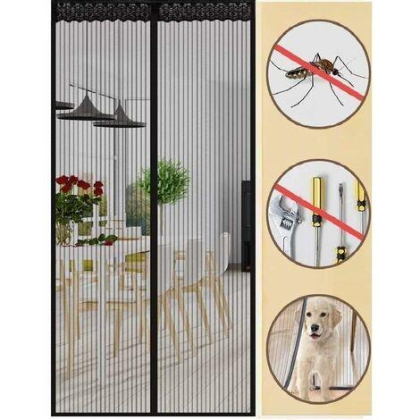 Aimant moustiquaire porte anti-insectes 90x210cm rideau anti-insectes rideau magnétique anti-insectes pour porte de balcon porte-fenêtre salon avec autocollant aiguilles à tête plate