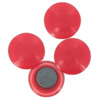 Aimant rond plat rouge 4 pièces