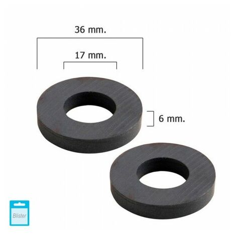 Aimant wolfpack ferrite aro Ø 36x17x6 mm. (blister 2 pièces)