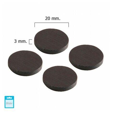 Aimant wolfpack ferrite disque Ø 20x3 mm. (blister 4 pièces)