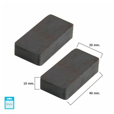 Aimant wolfpack ferrite rectangulaire 40x20x10 mm. (blister 2 pièces)