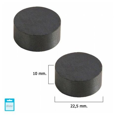 Aimant wolfpack ferrite ronde Ø 22,5x10 mm. (blister 2 pièces)