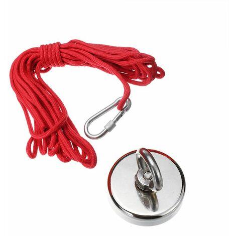 Aimants de pêche Aimant rond en néodyme avec boulon à œil de corde 10M Aimant de force de traction combinée pour la pêche en rivière ou en lac (60mm 200KG)