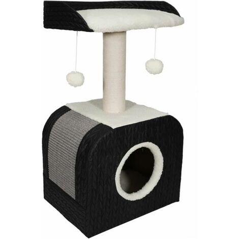 AIME Arbre a Chat Design, 1 Etage, 1 Griffoir Jute, 1 Plateau Fourrure Mouton, Jouet Pompons, Noir, Dim. 40x30x72 cm