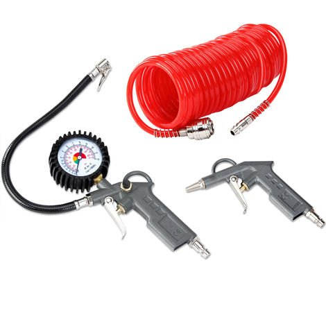 Air Compressor Accessories Tool Kit Blow Gun Pressure Gauge Spiral Hose Tube 115 PSI Tyre Inflator
