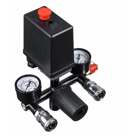 "main image of ""Air Compressor Pressure Switch Control Valve Regulator Gauges with Quick Connector (220V)"""