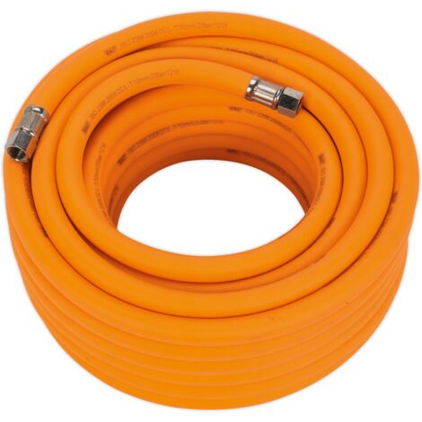 "Air Hose 15m x ??10mm Hybrid High Visibility with 1/4""BSP Unions"