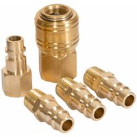 "Air line fittings 1/4"" 5-PCs - hose fittings, air compressor fittings, air hose fittings - yellow"