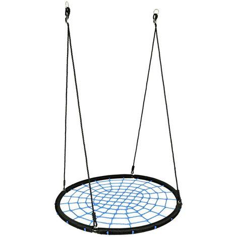 AIRBO | Balançoire nid d'oiseau rond enfant/adulte diamètre 120cm | Suspension filet intérieur/extérieur jardin 150kg max | Noir/Bleu
