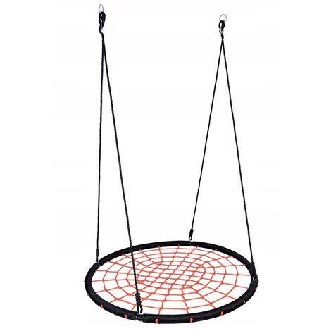 AIRBO | Balançoire nid d'oiseau rond enfant adulte diamètre 120cm | Suspension filet intérieur/extérieur jardin 150kg max | Noir/Rouge