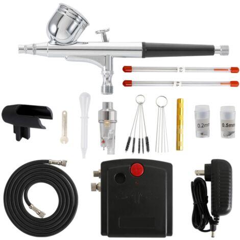 Airbrush Air Pump Set, Mini Automatic Stop Double Action Air Pump Set, Aerosol Paint Model, Tattoo Tools for Nails